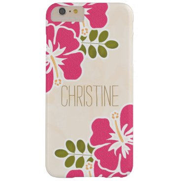 Beach Themed HOT PINK FUCHSIA HIBISCUS BARELY THERE iPhone 6 PLUS CASE