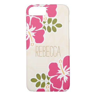 Beach Themed HOT PINK FUCHSIA HIBISCUS iPhone 7 CASE