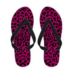 Hot Pink Fuchsia Leopard Print Flip Flops