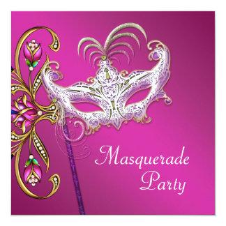 Hot Pink Fuchsia Pink Masquerade Party Card