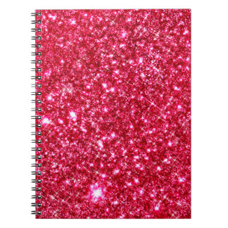 hot pink fuchsia tiny sequin glitter notebook