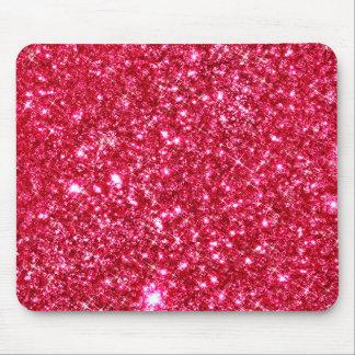 hot pink fuchsia tiny sequin glitter print mouse pad