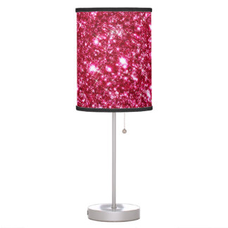 hot pink fuchsia tiny sequin glitter print table lamp
