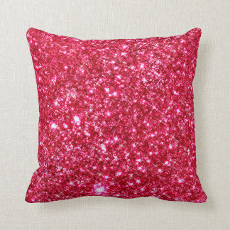 hot pink fuchsia tiny sequin glitter print throw pillow