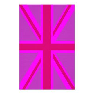Hot Pink Fuchsia Union Jack Decor Stationery