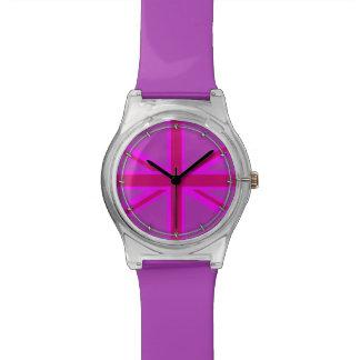 Hot Pink Fuchsia Union Jack Decor Wristwatch