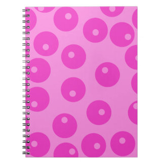 Hot Pink Funky Retro Pattern. Spiral Note Book