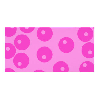 Hot Pink Funky Retro Pattern. Photo Card