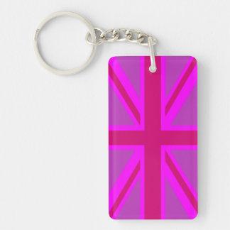 Hot Pink Fushia Union Jack British Flag Background Keychain