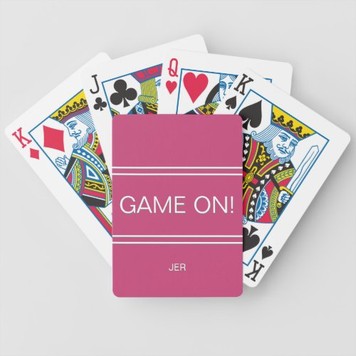 Hot Pink GAME ON Quote Custom Monogrammed Initials Bicycle Playing Cards