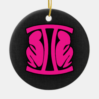 Hot Pink Gemini Double-Sided Ceramic Round Christmas Ornament
