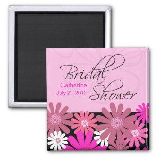Hot Pink Gerber Daisy Bridal Shower Magnet magnet