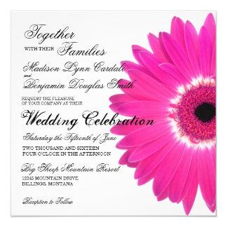 "Hot Pink Gerber Daisy Flower Wedding Invitations 5.25"" Square Invitation Card"