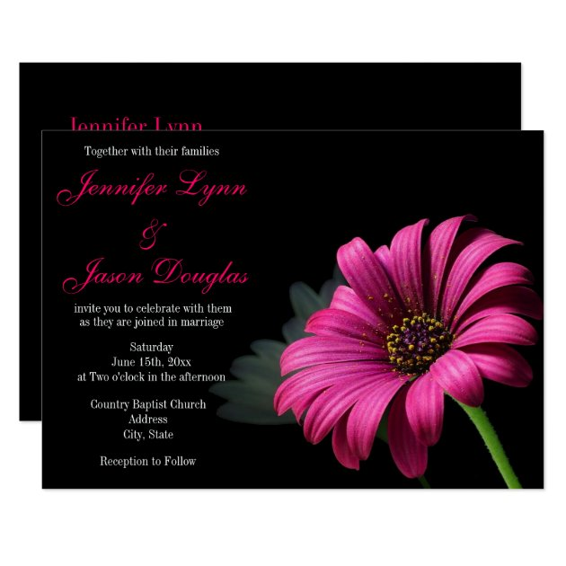 Hot Pink Gerber Daisy Flower Wedding Invitations | Zazzle