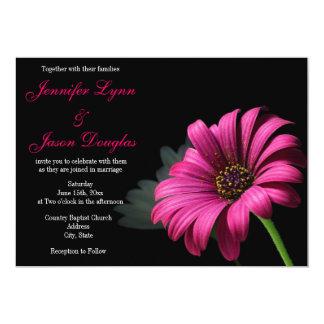 "Hot Pink Gerber Daisy Flower Wedding Invitations 5"" X 7"" Invitation Card"