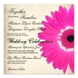 "Hot Pink Gerber Daisy Rustic Wedding Invitations 5.25"" Square Invitation Card"