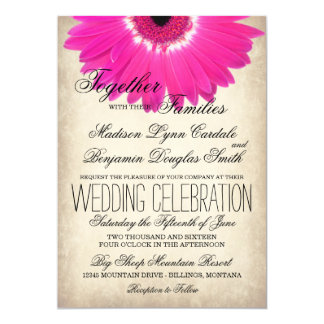 "Hot Pink Gerber Daisy Rustic Wedding Invitations 5"" X 7"" Invitation Card"