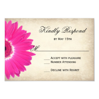 Hot Pink Gerber Daisy Rustic Wedding RSVP Cards