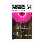 Hot Pink Gerber Daisy Rustic Wood Wedding Stamp