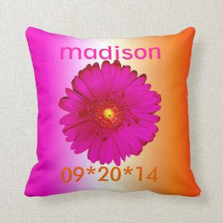 Hot Pink Gerbera Daisy for Vicki II Throw Pillows