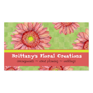 Hot Pink Gerbera Daisy Modern Floral Stylish Double-Sided Standard Business Cards (Pack Of 100)