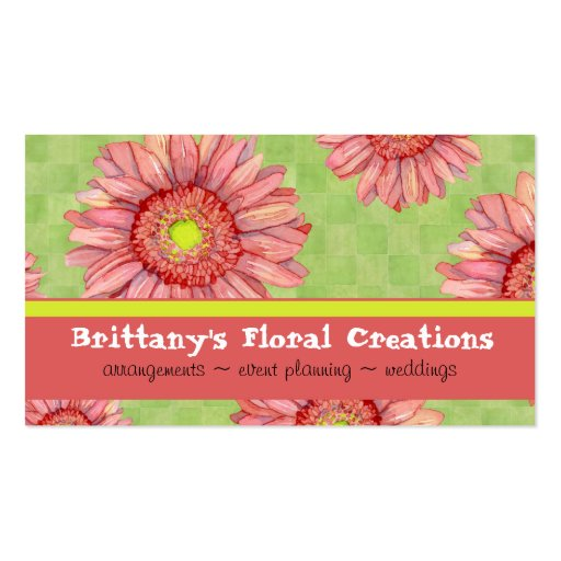 Hot Pink Gerbera Daisy Modern Floral Stylish Business Card Template