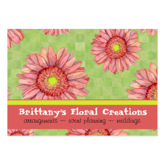 Hot Pink Gerbera Daisy Modern Floral Stylish Large Business Cards (Pack Of 100)