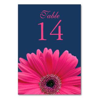 Hot Pink Gerbera Daisy Navy Blue Wedding Table Cards