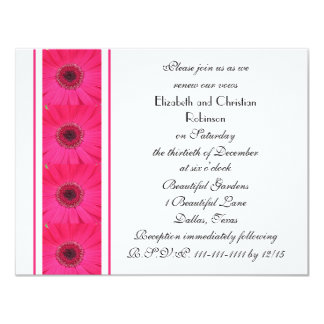 Hot Pink Gerbera Daisy on White Vow Renewal Card