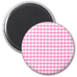 Hot pink Gingham pattern 2 Inch Round Magnet