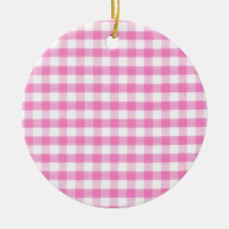 Hot pink Gingham pattern Ceramic Ornament