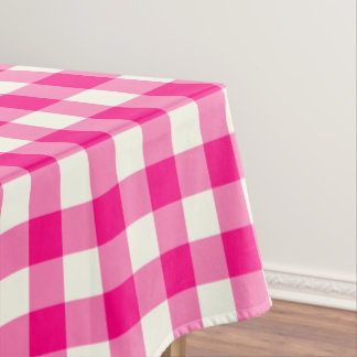 Hot Pink Gingham Pattern Check Tablecloth