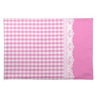 Hot pink Gingham pattern Cloth Placemat