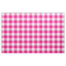 Hot Pink Gingham Pattern Fabric
