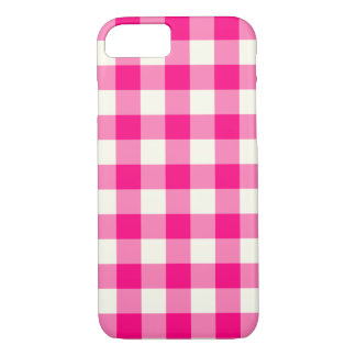 Hot Pink Gingham Pattern iPhone 7 Case