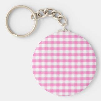 Hot pink Gingham pattern Key Chain
