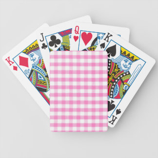 Hot pink Gingham pattern Bicycle Playing Cards