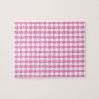 Hot pink Gingham pattern Jigsaw Puzzles