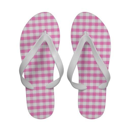 Hot Pink Gingham pattern Sandals