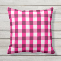 Hot Pink Gingham Pattern Throw Pillow