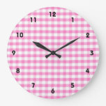 Hot pink Gingham pattern Wall Clock