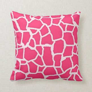 Hot Pink Giraffe Animal Print Throw Pillow