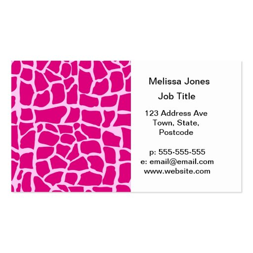Hot pink giraffe pattern Double-Sided standard business ...