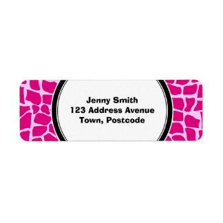 Hot pink giraffe pattern return address labels