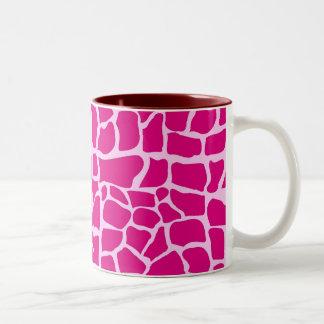 Hot pink giraffe pattern Two-Tone coffee mug