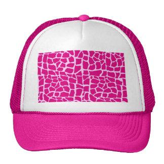 Hot pink giraffe pattern trucker hat