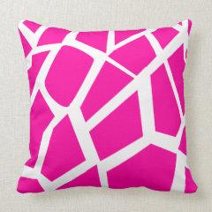 Hot Pink Giraffe Pattern Wild Animal Prints Throw Pillow