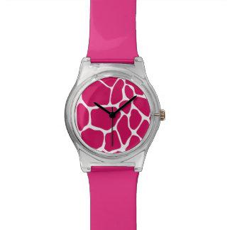 Hot Pink Giraffe Print Pattern Wristwatch