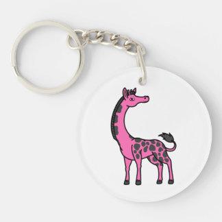 Hot Pink Giraffe with Black Spots Keychain