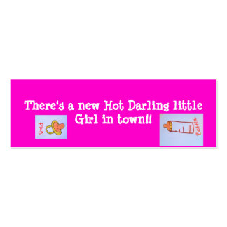 hot pink girl bookmarks Double-Sided mini business cards (Pack of 20)